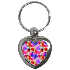 Floral Pattern Background Seamless Key Chains (heart)