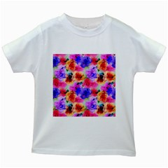 Floral Pattern Background Seamless Kids White T-Shirts