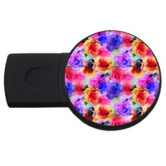 Floral Pattern Background Seamless Usb Flash Drive Round (2 Gb)