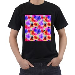Floral Pattern Background Seamless Men s T Shirt (black) (two Sided)