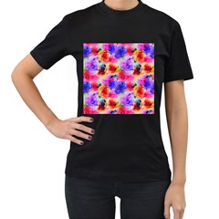Floral Pattern Background Seamless Women s T Shirt (black) (two Sided)
