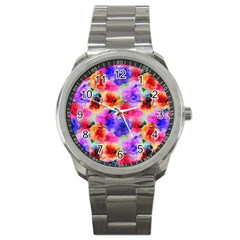 Floral Pattern Background Seamless Sport Metal Watch