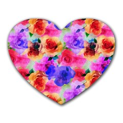 Floral Pattern Background Seamless Heart Mousepads