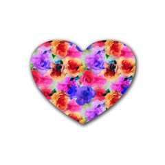 Floral Pattern Background Seamless Rubber Coaster (heart)