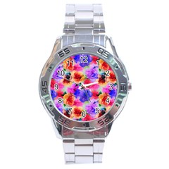 Floral Pattern Background Seamless Stainless Steel Analogue Watch