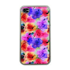 Floral Pattern Background Seamless Apple iPhone 4 Case (Clear)