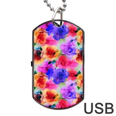 Floral Pattern Background Seamless Dog Tag Usb Flash (two Sides)