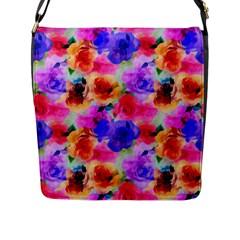 Floral Pattern Background Seamless Flap Messenger Bag (l)