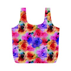 Floral Pattern Background Seamless Full Print Recycle Bags (M)