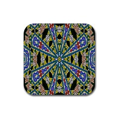 Kaleidoscope Background Rubber Square Coaster (4 Pack)