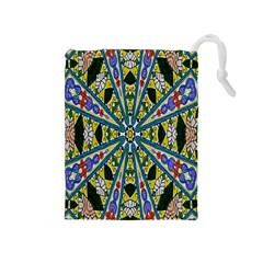 Kaleidoscope Background Drawstring Pouches (medium)