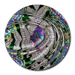 Water Ripple Design Background Wallpaper Of Water Ripples Applied To A Kaleidoscope Pattern Round Mousepads