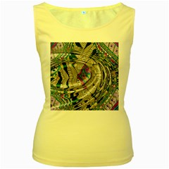Water Ripple Design Background Wallpaper Of Water Ripples Applied To A Kaleidoscope Pattern Women s Yellow Tank Top