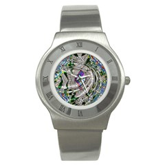 Water Ripple Design Background Wallpaper Of Water Ripples Applied To A Kaleidoscope Pattern Stainless Steel Watch