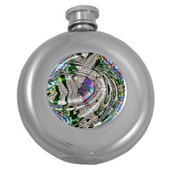 Water Ripple Design Background Wallpaper Of Water Ripples Applied To A Kaleidoscope Pattern Round Hip Flask (5 Oz)