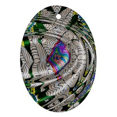 Water Ripple Design Background Wallpaper Of Water Ripples Applied To A Kaleidoscope Pattern Oval Ornament (two Sides)