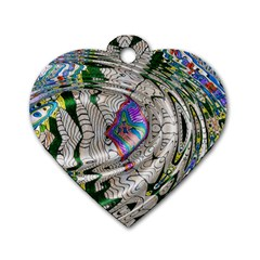 Water Ripple Design Background Wallpaper Of Water Ripples Applied To A Kaleidoscope Pattern Dog Tag Heart (Two Sides)
