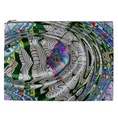 Water Ripple Design Background Wallpaper Of Water Ripples Applied To A Kaleidoscope Pattern Cosmetic Bag (XXL)
