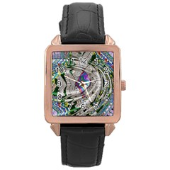 Water Ripple Design Background Wallpaper Of Water Ripples Applied To A Kaleidoscope Pattern Rose Gold Leather Watch
