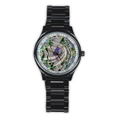 Water Ripple Design Background Wallpaper Of Water Ripples Applied To A Kaleidoscope Pattern Stainless Steel Round Watch