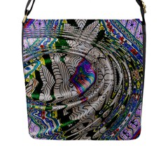 Water Ripple Design Background Wallpaper Of Water Ripples Applied To A Kaleidoscope Pattern Flap Messenger Bag (l)