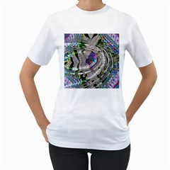 Water Ripple Design Background Wallpaper Of Water Ripples Applied To A Kaleidoscope Pattern Women s T-Shirt (White)