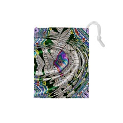 Water Ripple Design Background Wallpaper Of Water Ripples Applied To A Kaleidoscope Pattern Drawstring Pouches (small)