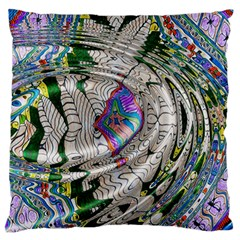 Water Ripple Design Background Wallpaper Of Water Ripples Applied To A Kaleidoscope Pattern Large Flano Cushion Case (One Side)