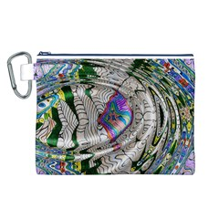 Water Ripple Design Background Wallpaper Of Water Ripples Applied To A Kaleidoscope Pattern Canvas Cosmetic Bag (l)