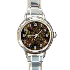 Wallpaper With Fractal Small Flowers Round Italian Charm Watch