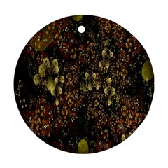 Wallpaper With Fractal Small Flowers Ornament (round)
