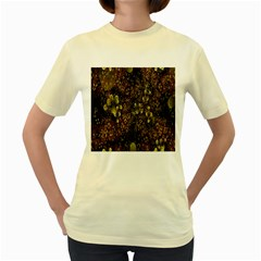 Wallpaper With Fractal Small Flowers Women s Yellow T Shirt