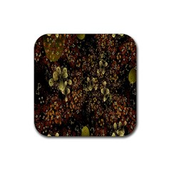Wallpaper With Fractal Small Flowers Rubber Square Coaster (4 Pack)