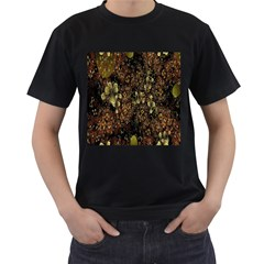 Wallpaper With Fractal Small Flowers Men s T Shirt (black) (two Sided)