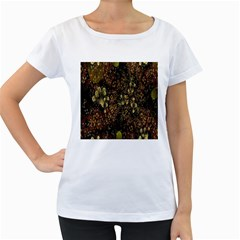 Wallpaper With Fractal Small Flowers Women s Loose Fit T Shirt (white)