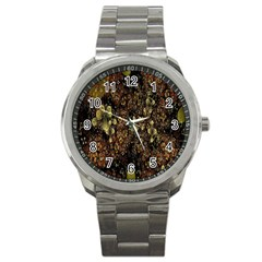 Wallpaper With Fractal Small Flowers Sport Metal Watch