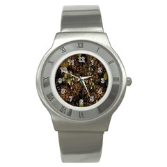 Wallpaper With Fractal Small Flowers Stainless Steel Watch