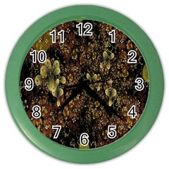 Wallpaper With Fractal Small Flowers Color Wall Clocks