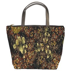Wallpaper With Fractal Small Flowers Bucket Bags