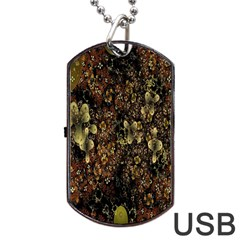 Wallpaper With Fractal Small Flowers Dog Tag Usb Flash (one Side)