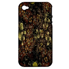 Wallpaper With Fractal Small Flowers Apple Iphone 4/4s Hardshell Case (pc+silicone)