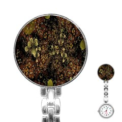 Wallpaper With Fractal Small Flowers Stainless Steel Nurses Watch