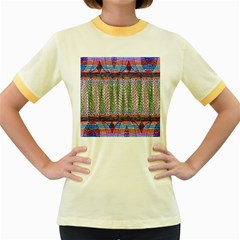 Nature Pattern Background Wallpaper Of Leaves And Flowers Abstract Style Women s Fitted Ringer T-Shirts