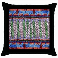 Nature Pattern Background Wallpaper Of Leaves And Flowers Abstract Style Throw Pillow Case (black)