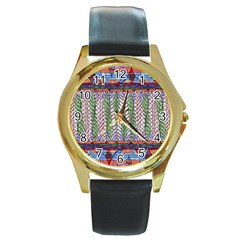 Nature Pattern Background Wallpaper Of Leaves And Flowers Abstract Style Round Gold Metal Watch
