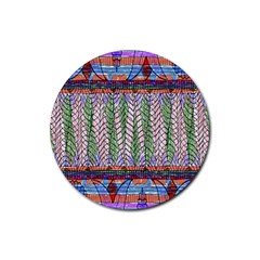 Nature Pattern Background Wallpaper Of Leaves And Flowers Abstract Style Rubber Round Coaster (4 Pack)