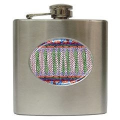 Nature Pattern Background Wallpaper Of Leaves And Flowers Abstract Style Hip Flask (6 oz)