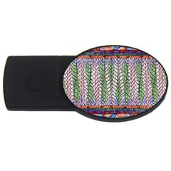 Nature Pattern Background Wallpaper Of Leaves And Flowers Abstract Style Usb Flash Drive Oval (2 Gb)