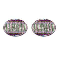 Nature Pattern Background Wallpaper Of Leaves And Flowers Abstract Style Cufflinks (oval)
