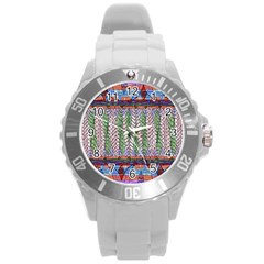 Nature Pattern Background Wallpaper Of Leaves And Flowers Abstract Style Round Plastic Sport Watch (l)